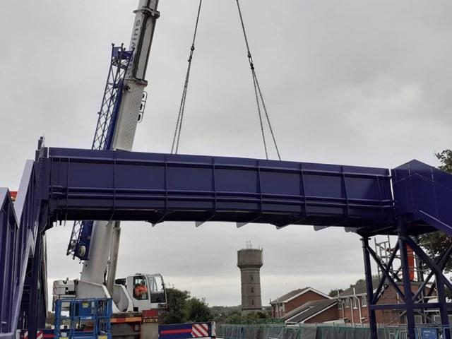 Part of Suggitt's Lane footbridge being installed