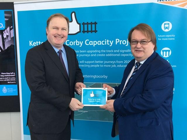 Commission accomplished! Extra rail line between Kettering and Corby enters into use: Left to right: Jake Kelly, Managing Director at East Midlands Trains and Spencer Gibbens, Principal Programme Sponsor at Network Rail