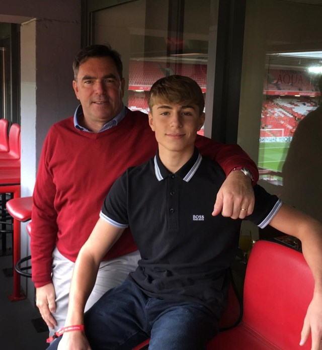 Howerd Kernahan and his son Rafael at Anfield stadium, Liverpool, before the Covid-19 outbreak