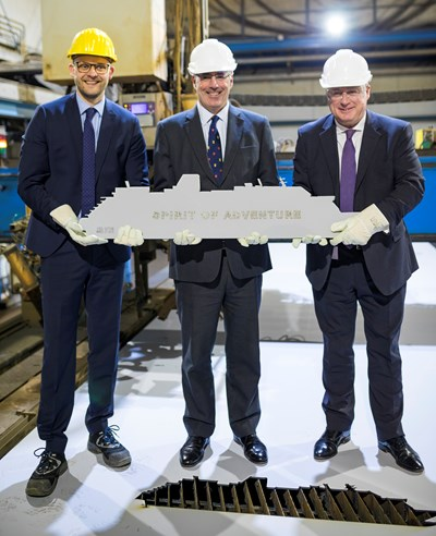Steel cutting ceremony for new ship Spirit of Adventure: Spirit of Adventure MG 5400