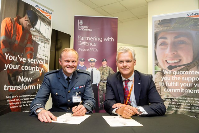 Network Rail reaffirms its commitment to the armed forces community: Network Rail chief executive, Mark Carne and Air Vice Marshall Graham Russell