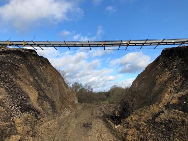 Edenbridge landslip cut-through: The railway has been cut through to access the landslip site