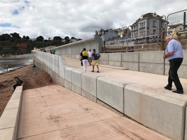 The new wall in Dawlish has a ramp to the beach