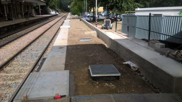 Platform extension work at Hebden Bridge station
