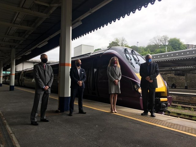 Sheffield station: Left to right:  Will Rogers, Managing Director of East Midlands Railway Gavin Crook, Principal Programme Sponsor for Network Rail  Peter Kennan, Chair of Transport Forum at Sheffield Chamber of Commerce  Melissa Farmer, Rail Development Manager at South Yorkshire Passenger Transport Executive