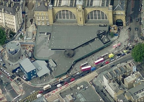 King Cross southern entrance - Bird's eye view