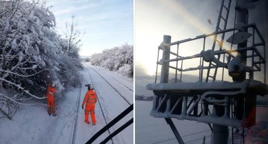 Engineers at work in the snow on the Newport to Hereford Line at Tram Inn and the signal gantry - December 2017: winter, extreme weather
