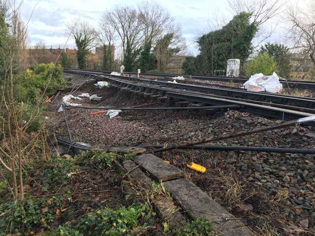 Line between Epsom and Ewell West to reopen on Monday 6 January: Epsom landslip