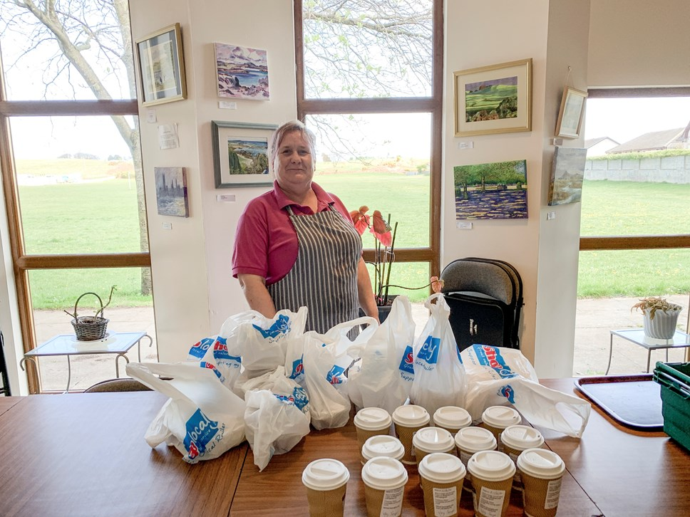A new fund has been established to help local groups support their communities with food supplies during the COVID-19 pandemic.: Catering assistant Marie Fraser