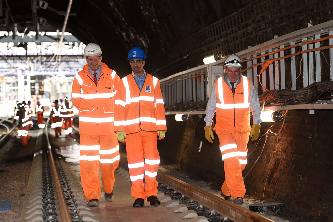 Queen Street August 5 - Transport Minister Humza Yousaf views the tunnel works alongside ScotRail Alliance MD Phil Verster (left) and EGIP Programme Director Rodger Querns
