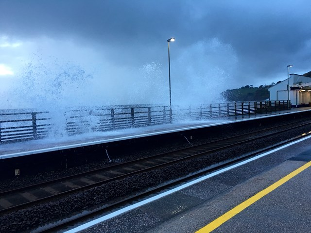 Waves over Dawlish station platforms
