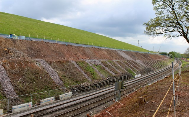 Abseil teams tackle steep conditions to protect railway cutting from rockfalls: Arley cutting strengthening work main view