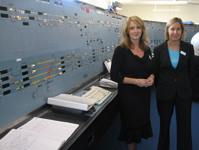 King's Cross Signal Box Extension Opening: First Capital Connect's Managing Director Elaine Holt (left) and Network Rail's Route Director Dyan Crowther (right) at the extended and refurbished King's Cross Signal Box