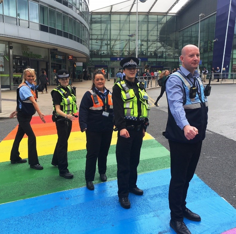 Network Rail's Pride as railway road gets rainbow makeover: Network Rail and BTP support Manchester Pride