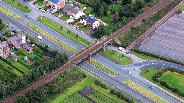 Major railway bridge renewal starts in St Helens this weekend: Rainford-Bypass-bridge-aerial (1)