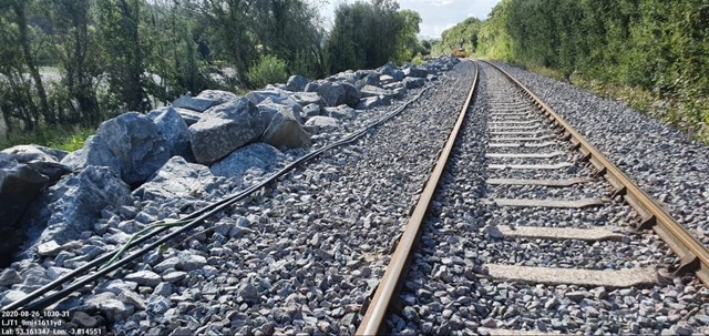 Conwy Valley Line to reopen this month as £2.2m investment helps protect it from extreme weather and flooding: Rock armour on the Conwy Valley Line prevented the line getting damaged during Storm Francis