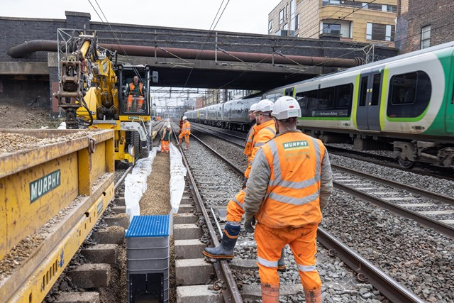 New drainage being installed at Willesden on West Coast main line March 2021