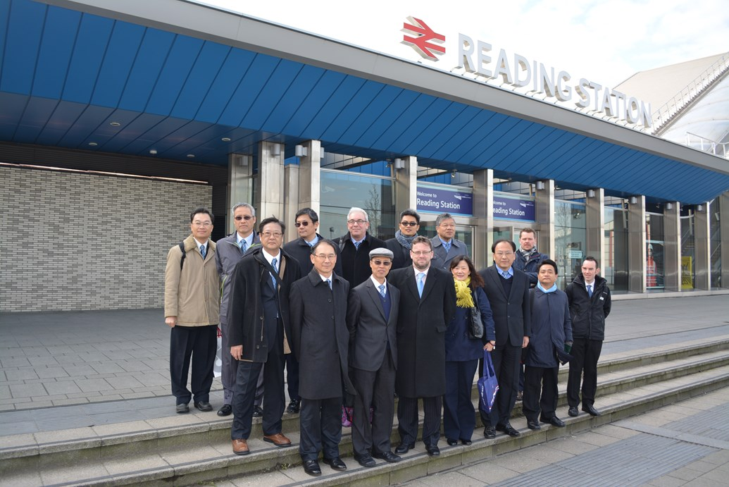 Reading railway redevelopment gains international recognition: Taiwanese delegates with Network Rail staff at Reading station