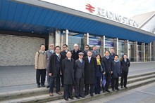 Taiwanese delegates with Network Rail staff at Reading station