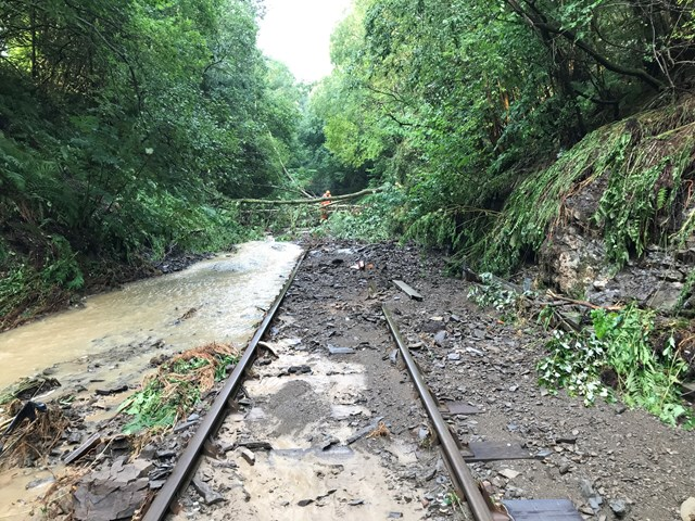 Heart of Wales line closed as extreme weather floods railway and causes significant damage: Debris was left across the track