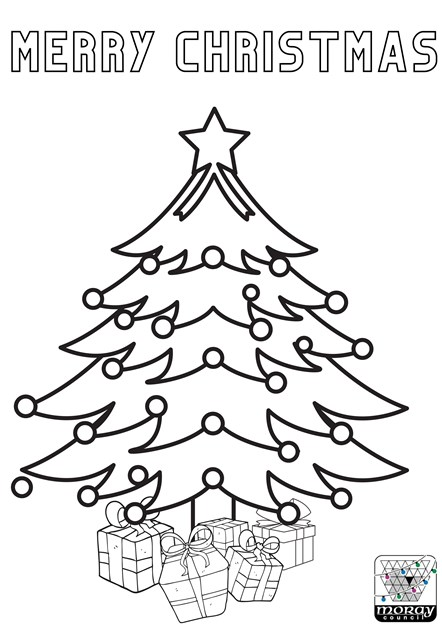 Colour me in Christmas tree template