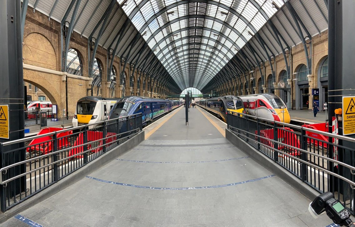 Network Rail completes once-in-a-generation scheme at King's Cross: Trains on the new King's Cross platforms (l-r) Thameslink, Hull Trains, Grand Central and LNER.
