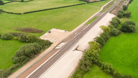 Bridge Farm ground works. Stone to stablisise the railway. Aylesbury.