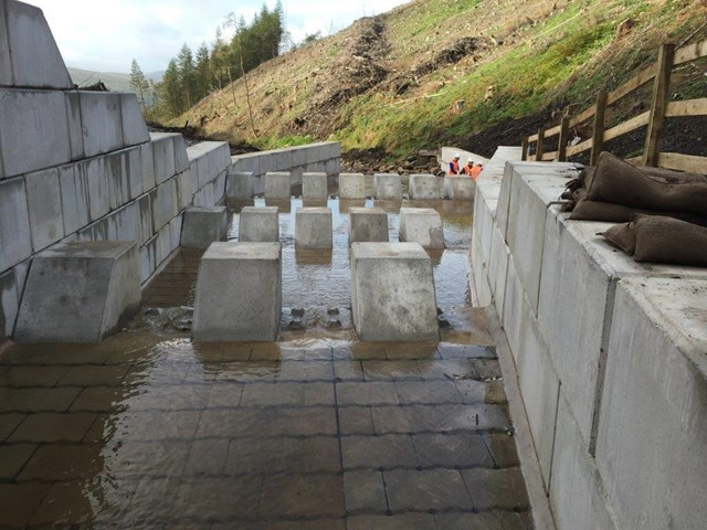 A closer view of the new drainage system at Dent, Cumbria