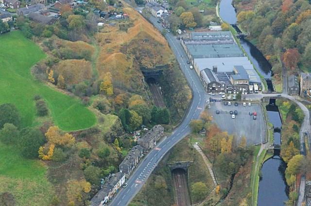 Summit Tunnel aerial image Calderbrook end 2