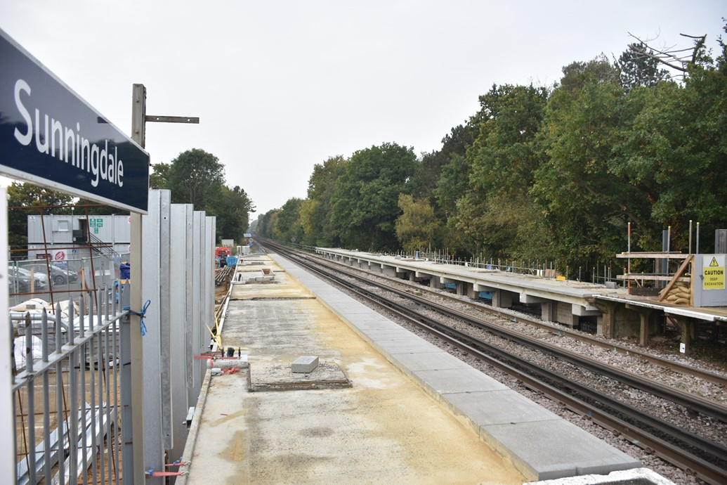 Longer platforms for longer trains: work continues apace at Sunningdale station: Platforms at Sunningdale station are being extended to accommodate longer trains, as part of the £800 million Waterloo & South West Upgrade-2