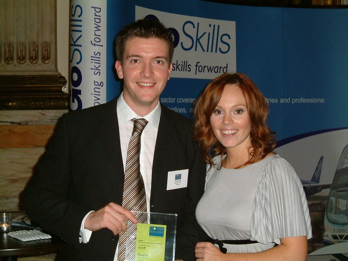 Chris Evans and Michelle Dewberry: Michelle Dewberry, from BBCs 'The Apprentice' presented Chris with his award