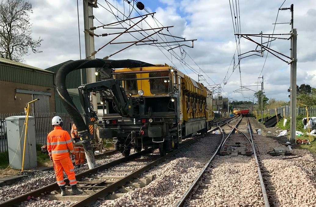 Major bank holiday railway upgrades completed with more to come later in May: Ballast cleaning in Milnthorpe Cumbria