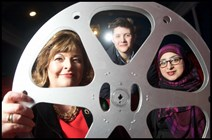 L-R - Cabinet Secretary Fiona Hyslop, and filmmakers Siri Rodnes and Raisah Ahmed