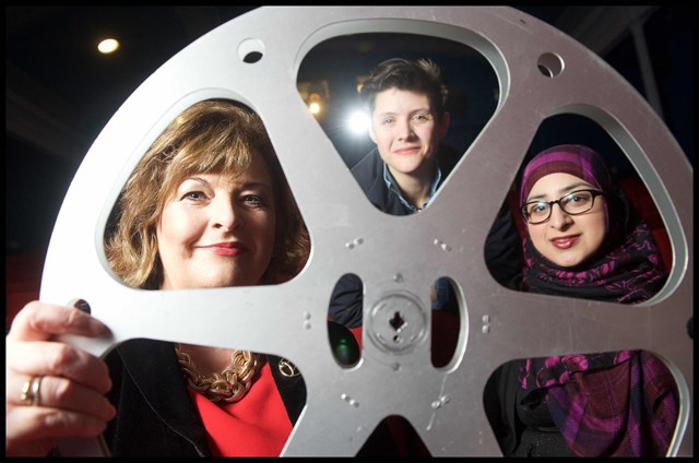 Funding for festivals: L-R - Cabinet Secretary Fiona Hyslop, and filmmakers Siri Rodnes and Raisah Ahmed
