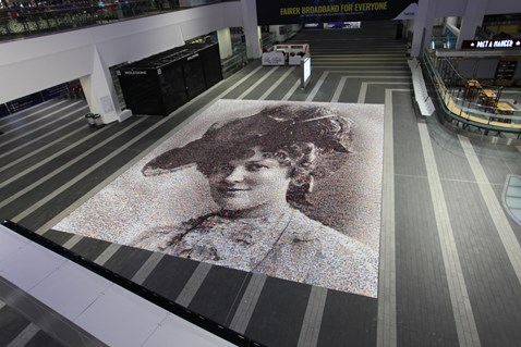 Unique Face of Suffrage artwork unveiled at Birmingham New Street station - from above