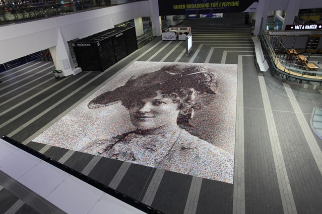 Unique 'Face of Suffrage' artwork unveiled at Birmingham New Street station: Unique Face of Suffrage artwork unveiled at Birmingham New Street station - from above