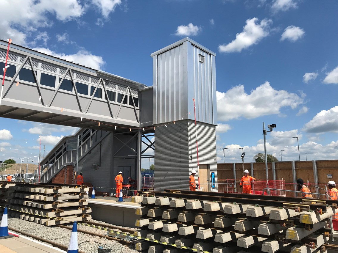 work to new footbridge at MH station
