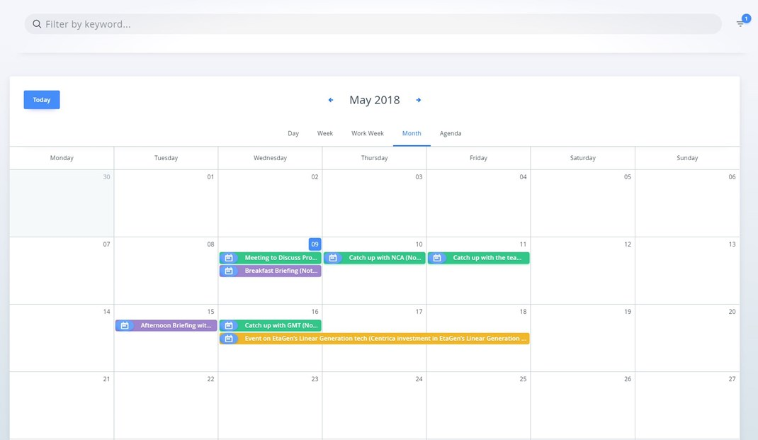 Keep track of meetings and events