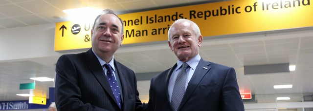 Direct airlink between Scotland and the Isle of Man: First Minister welcomes Isle of Man Chief Minister at Glasgow airport. First Minister Alex Salmond welcomed IOM Chief Minister Allan Bell at Glasgow Airport as he touched down on one of the first flights restoring the direct airlink between Scotland and the Isle of Man.