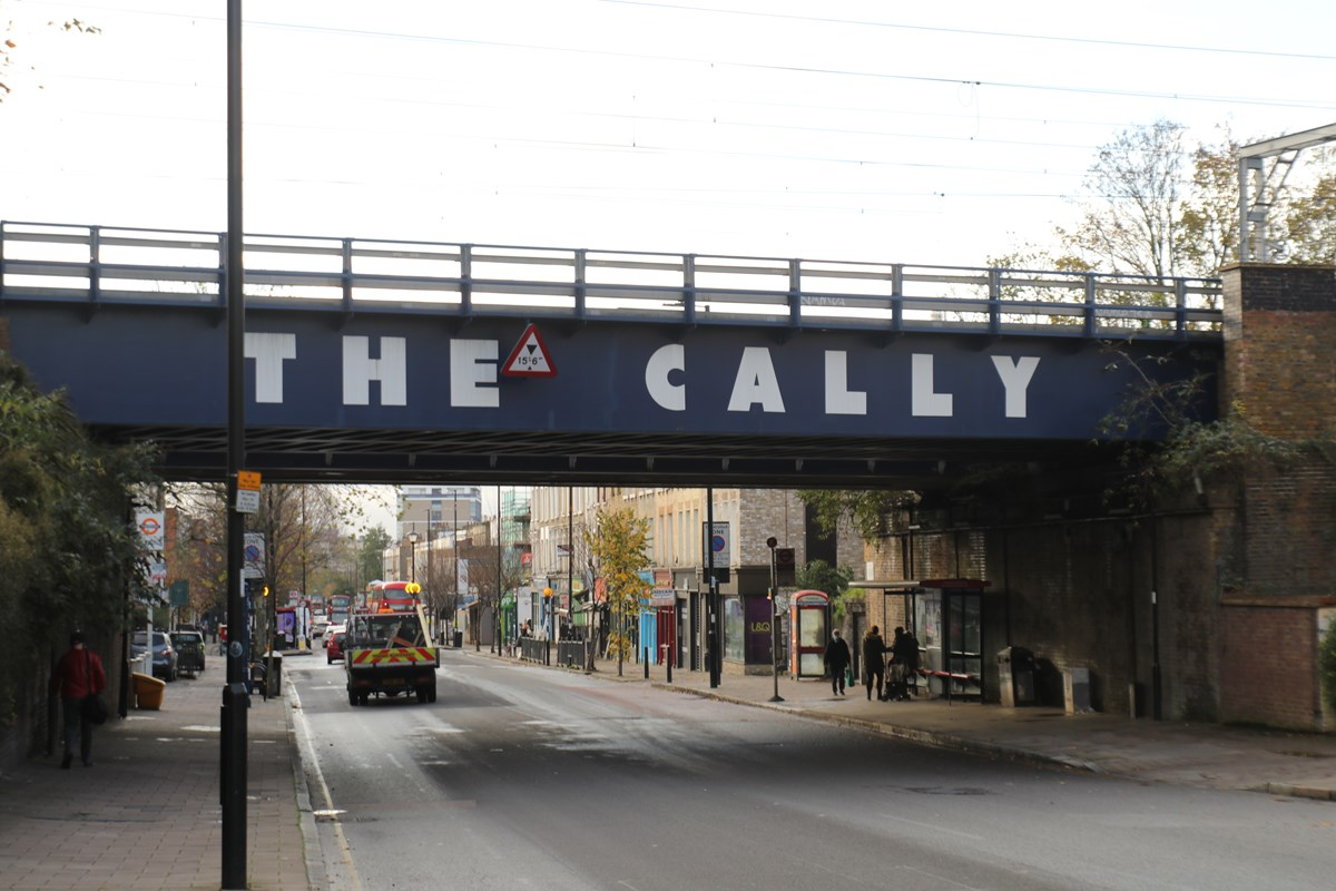Bridge over Caledonian Road with 'The Cally' motif
