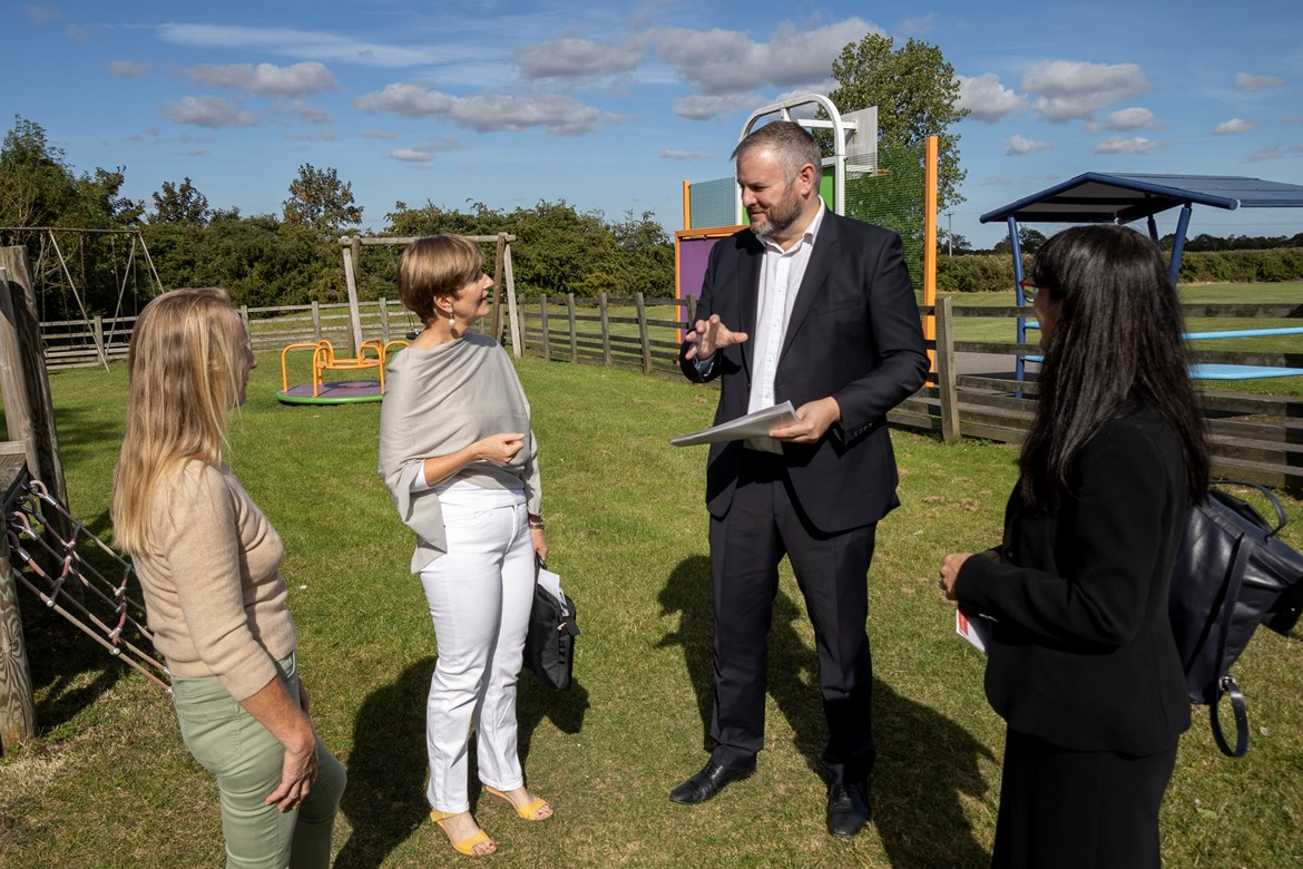 HS2 Minister celebrates £10million of funding distributed by HS2 Community Funds: HS2 Minister visits Burton Dassett Parish Council childrens play area CEF project -2