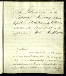 Stephenson notebook Front Page from NER AGT 350 Original Report by G Stephenson for S&D 1822