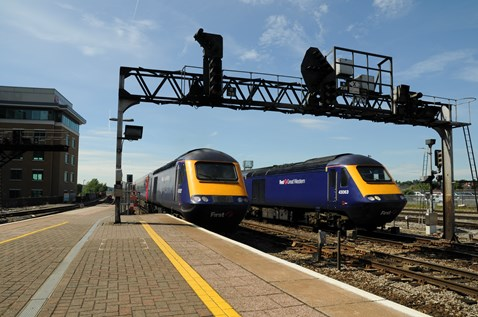 Passenger trains approaching Reading station