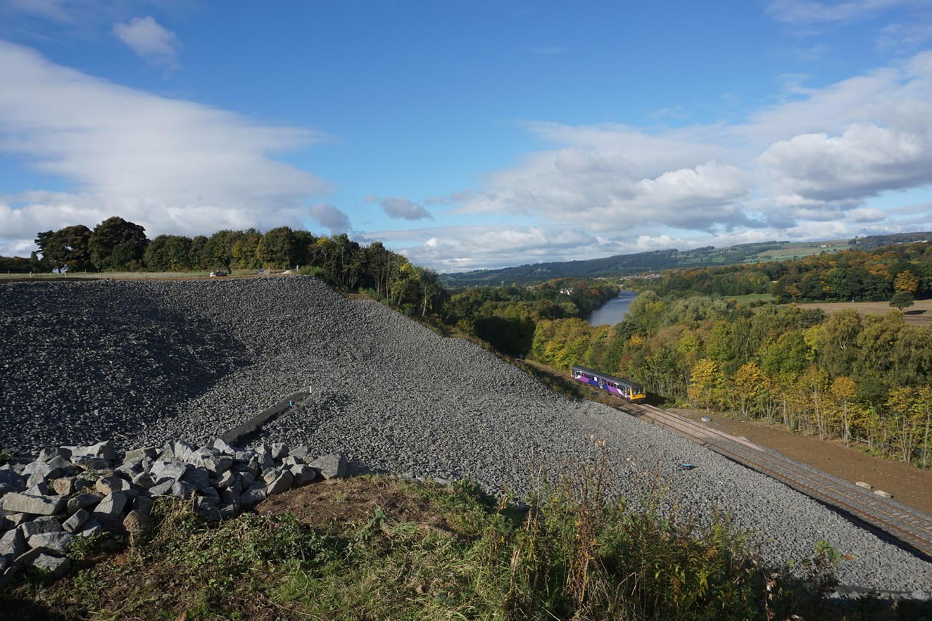 Network Rail thanks communities in Northumberland as landslip rebuild is completed: The rebuild embankment at Farnley Haugh, Hexham