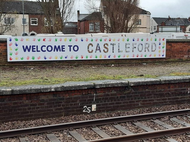 Mural made by local school children welcomes passengers to revamped station: Castleford Mural