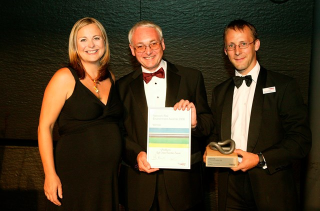 Rail Crime Prevention Award winner - Southern Railway: Presented to David Haynes, Head of Security for Southern Railway by Philippa Forrester and Paul Plummer, Network Rail's Director, Planning and Regulation. Southern Railway took the award for its Crime and Disorder Reduction Task Force.  The team provided a more visible presence on Southern trains and at certain stations.  This proactive approach in tackling anti-social behaviour resulted in passengers feeling safer when using trains