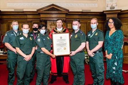 Freedom of the Borough - Islington Mayor, Cllr Comer-Schwartz and London Ambulance Service representatives