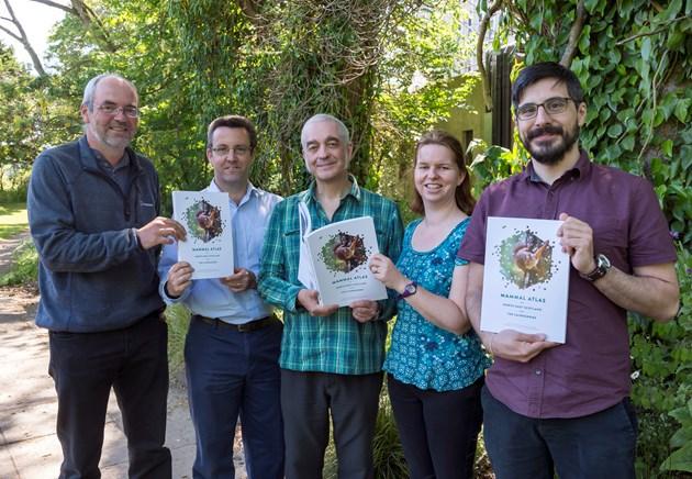 NE Mammal Atlas book launch - editors from L to R Nick Littlewood, Paul Chapman, Glenn Roberts, Annie Robinson, Konstantinos Sideris. Copyright Aberdeen Council