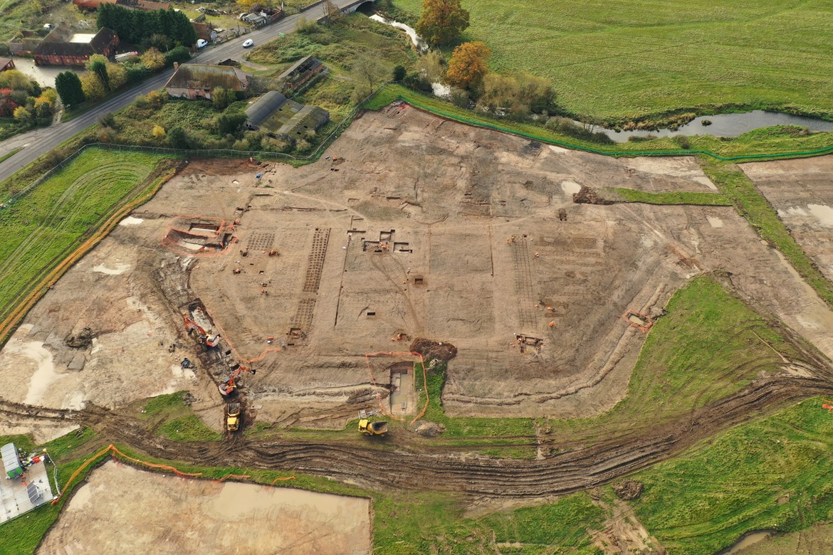 HS2 archaeologists uncover Warwickshire's answer to Hampton Court: Drone photo of Coleshill Manor and Gardens 1