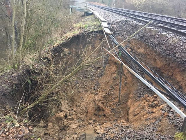 Damage to railway at Thorrington landslip